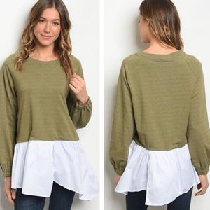Babydoll Silhouette Olive Green Colorblock  Blouse
